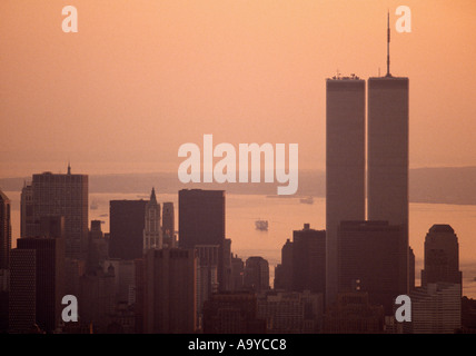 World Trade Center Twin Towers in Manhattan Island in New York City in the United States of America USA - Stock Photo