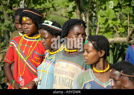 Young women of the Derashe people with colourful necklaces near Arba Minch Ethiopia - Stock Photo