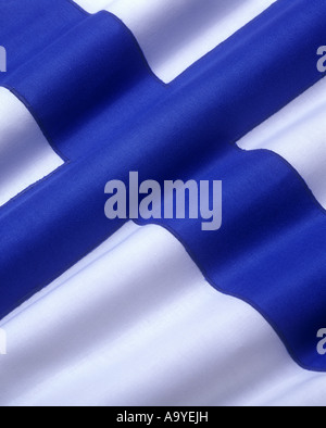 FLAG FINLAND MADE OF STITCHED COTTON BUNTING - Stock Photo