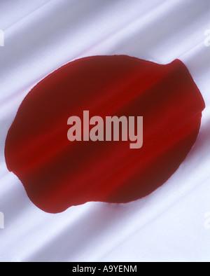 FLAG JAPAN MADE OF STITCHED COTTON BUNTING - Stock Photo