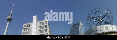 Panoramashot of the Parkinn Hotel, World Time Clock and TV Tower, Alexanderplatz, Berlin, Germany, Europe - Stock Photo