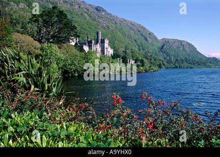 The Kylemore Abbey, Connemara region, County Galway, Republic of Ireland.  Sept 2002. - Stock Photo