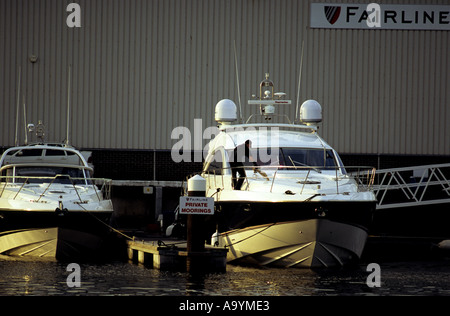 Fairline motorboat company testing facility, Ipswich Marina, Suffolk, UK. - Stock Photo