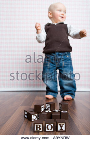 Building blocks and baby boy - Stock Photo