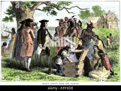William Penn treaty with Native Americans in Pennsylvania 1680s. Hand-colored woodcut - Stock Photo