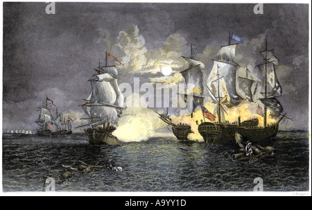 John Paul Jones ship Bon Homme Richard defeating the British Serapis 1779. Hand-colored engraving - Stock Photo