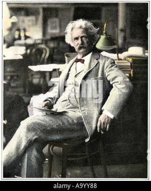 Samuel Clemens Mark Twain in New York visiting his publishers 1900s. Hand-colored halftone of a photograph - Stock Photo