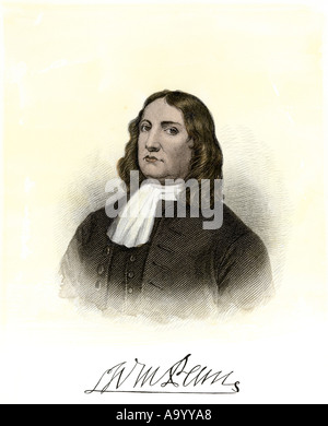 William Penn with autograph. Hand-colored steel engraving - Stock Photo