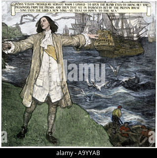 William Penn vision of ships liberating prisoners. Hand-colored halftone of an illustration - Stock Photo