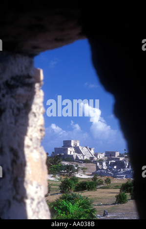 Mayan ruins at Tulum Quintana Roo Mexico - Stock Photo