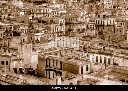 Overview of buildings in the historic section of Havana Cuba Caribbean - Stock Photo