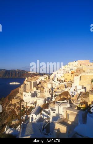 Town of Oia near Fira Thira on the island of Santorini Greece - Stock Photo