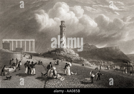 Edinburgh, Scotland. The Calton Hill, Nelson's Monument. The National Monument. From the original painting by Lt - Stock Photo