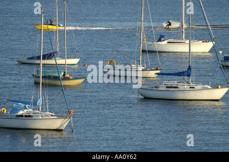 Yachts moored on Carrick Roads Cornwall England - Stock Photo