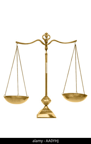 Scales of Justice cut out on white background - Stock Photo