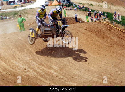 race of motorcycles with sidecars - Stock Photo