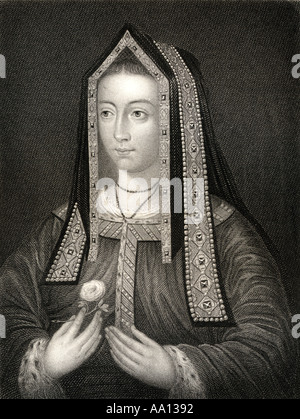 Elizabeth of York, 1466 – 1503.  Wife of Henry VII and the first Tudor queen. - Stock Photo