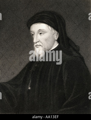Geoffrey Chaucer, aka Father of English literatura, c.1343 - 1400. English writer and poet. - Stock Photo