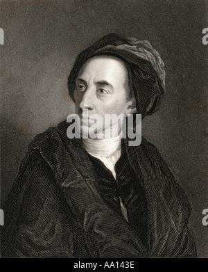 Alexander Pope 1688 - 1744.   English poet and satirist. - Stock Photo