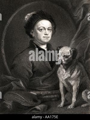 William Hogarth, 1697 – 1764.  English painter, printmaker, pictorial satirist, social critic, and editorial cartoonist. - Stock Photo