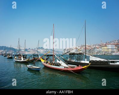 Rabelo boats on douro river porto - Stock Photo