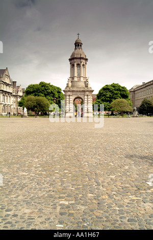 The central courtyard of Trinity College in Dublin, Ireland. - Stock Photo