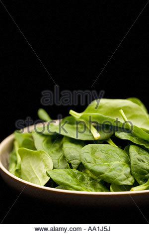 Bowl of spinach leaves - Stock Photo