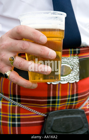 SCOTSMAN HOLDING A PINT OF BEER - Stock Photo