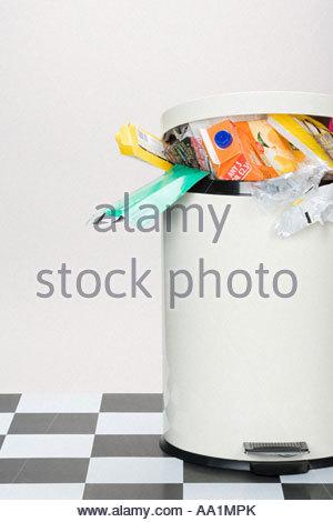 Rubbish in a bin - Stock Photo