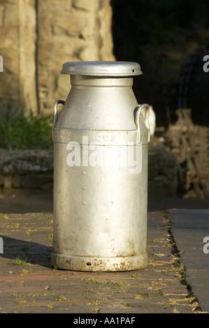 Milk Churn Shropshire England - Stock Photo