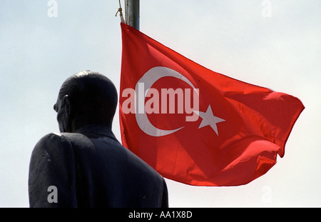 Statue of Ata Turk and the Turkish flag in Kas Southern Turkey - Stock Photo