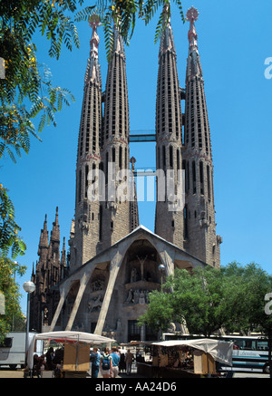 Basílica i Temple Expiatori de la Sagrada Família, Eixample District, Barcelona, Catalunya, Spain - Stock Photo
