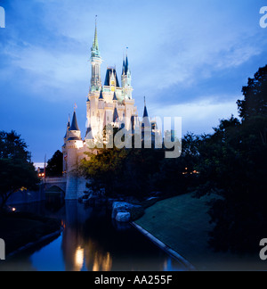 Cinderella Castle at night, Magic Kingdom, Walt Disney World, Orlando, Florida, USA - Stock Photo
