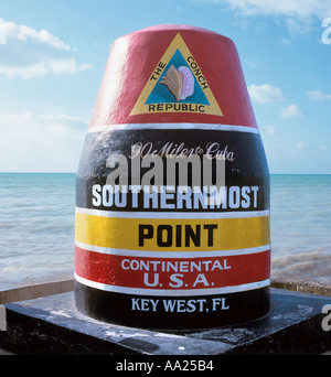 Marker fo the Southernmost Point in the Continental USA, Key West, Florida, USA - Stock Photo