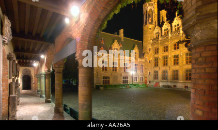 Soft Focus of Gruuthuse Museum courtyard at night, Bruges, Belgium - Stock Photo