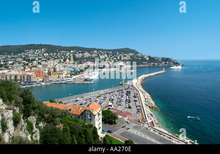 View over the port area from the Chateau, Nice, France - Stock Photo