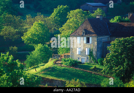 Country house in the Dordogne Valley Quercy France - Stock Photo