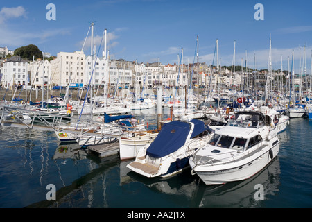 Yachts in the harbour at St Peter Port, Guernsey, Channel Islands - Stock Photo