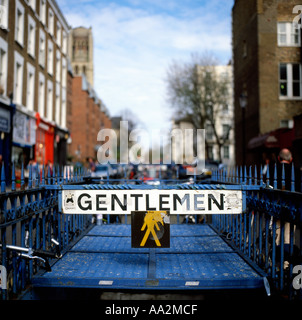 Gentlemen sign at the entrance to public conveniences in Notting Hill, London England UK - Stock Photo