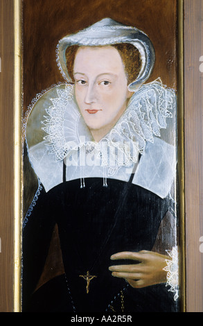 Mary Queen of Scots House, Jedburgh, painted panel portrait, history, Scotland, UK, Scottish Borders, heritage, - Stock Photo