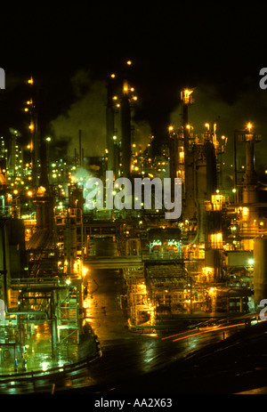 Oil refinery along Interstate 80 near Rodeo Contra Costa County San Francisco Bay Area California - Stock Photo