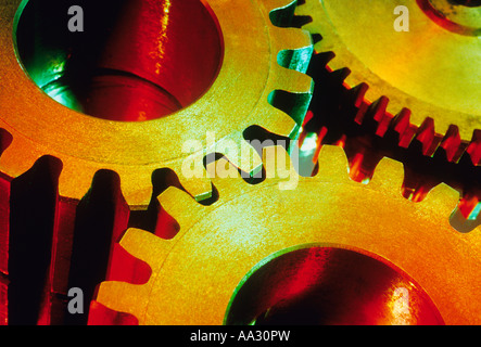 Close up of Colorful Interlocking Gears Many Objects - Stock Photo