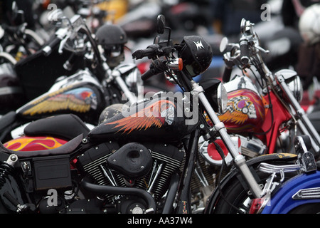 Hells Angels Funeral Motorcycle club members at funeral for member who was gunned down - Stock Photo
