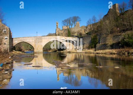 Bridge over the River Tees at Barnard Castle, UK - Stock Photo