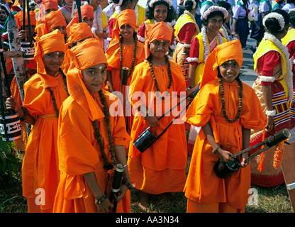 India Andaman Islands Port Blair Republic Day schoolchildren dressed in Indian State costumes - Stock Photo