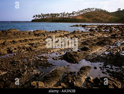 India South Andaman Island coast geology rock strata - Stock Photo