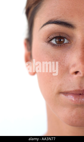 close up of half face pretty young woman - Stock Photo
