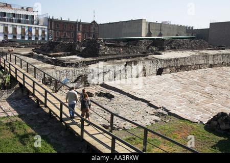 Templo Mayor archaeological site, near the Zocalo, Plaza de la Constitucion, Mexico City, Mexico - Stock Photo