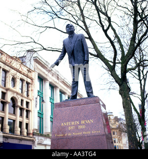 A statue of Aneurin Bevan Founder of the National Health Service Cardiff Wales UK - Stock Photo