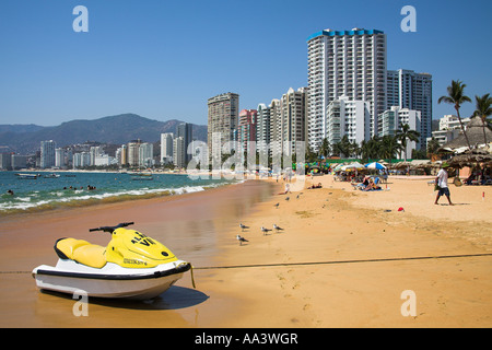 Condominiums and hotels beside beach, Acapulco, Guerrero State, Mexico - Stock Photo